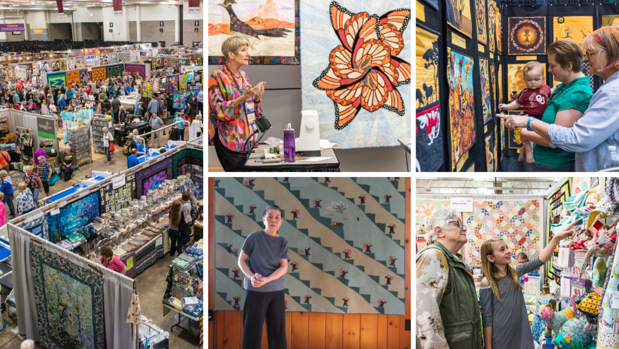 Montage of photos from Quilt Expo: special exhibits, Quilt Contest entries, vendor booths and more.