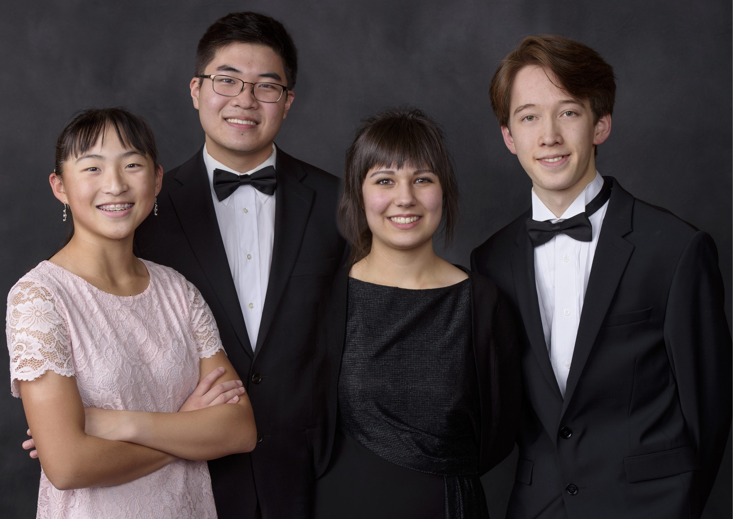 group photo of four finalists in the 2020 Bolz Young Artist Competition