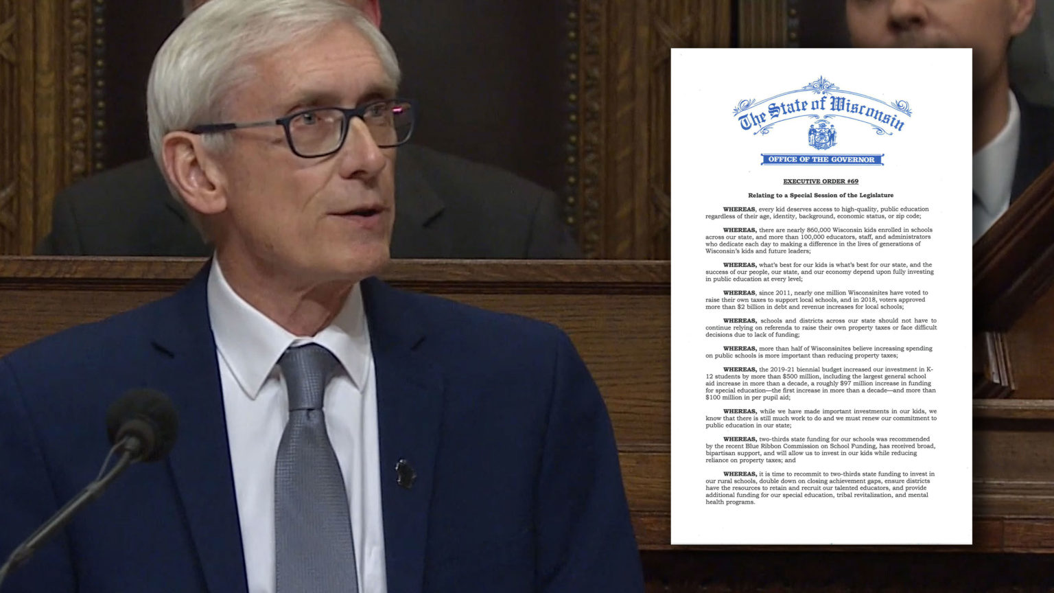 Evers Calls for Special Session, Return to Two-Thirds Funding
