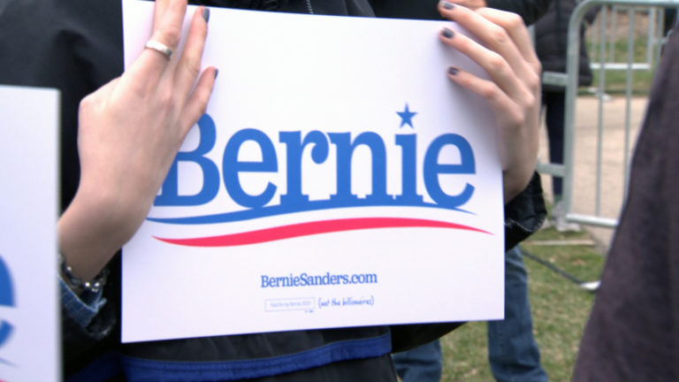 Bernie Sanders sign.