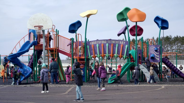 Children play on school playground