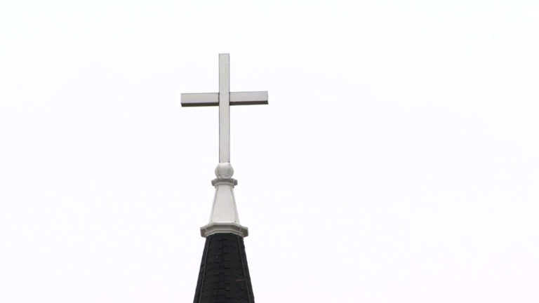 Steeple at St. John's Lutheran Church in Johnson Creek on Easter Sunday April 12, 2020. Worshipers tuned in to the service from their car radios while maintaining social distancing.