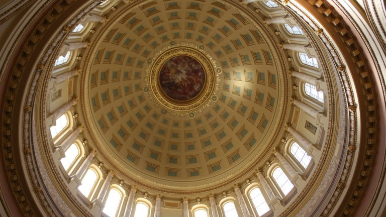 photo of the decorative dome ceiling of the Wisconsin State Capitol building