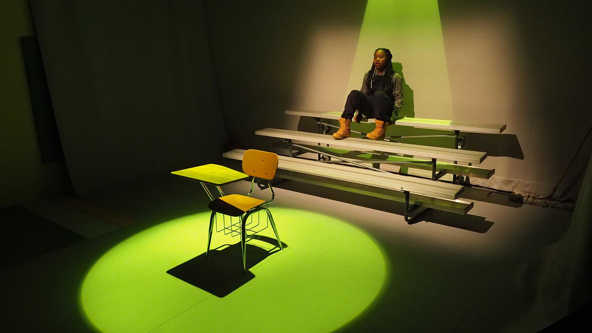 Zhalarina Sanders on the set of The Light