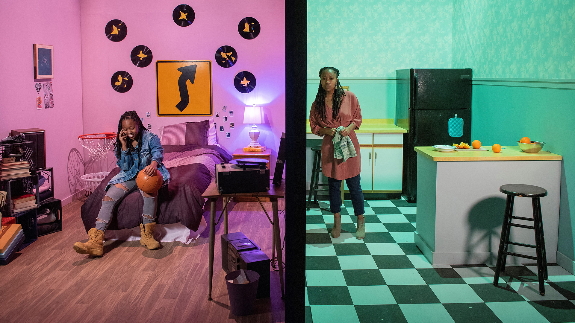 The Light: A split screen of two sets in The Light - a kitchen and a bedroom