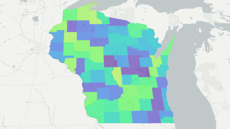 Choropleth map of Wisconsin showing each county sorted by name.