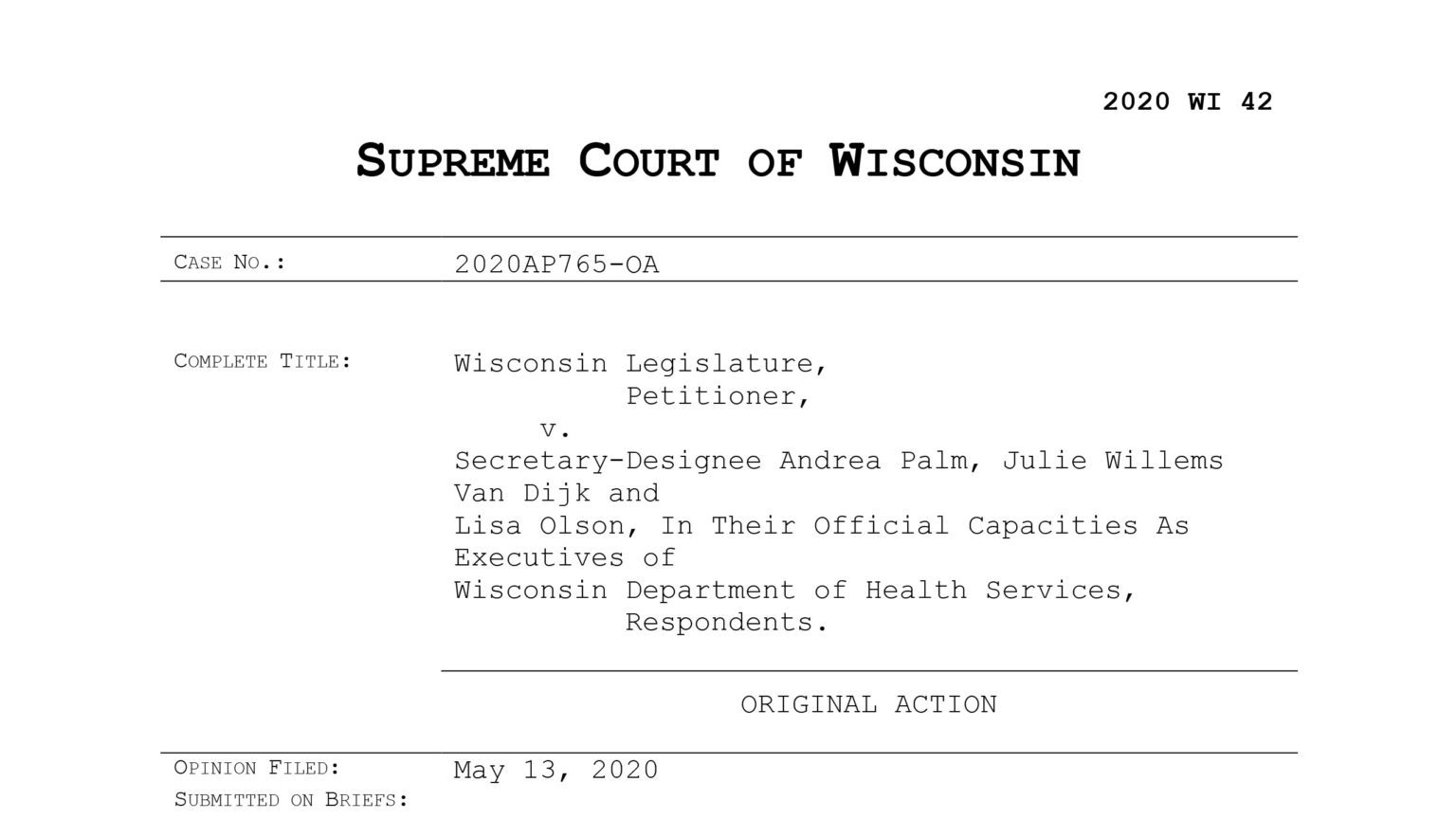 Front page of the Supreme Court's decision striking down the Evers administration's Safer at Home order.