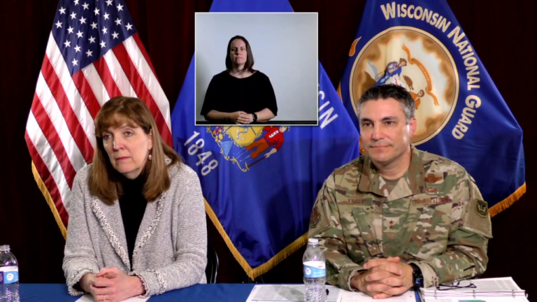 Deputy health secretary Julie Willems Van Dijk and Wisconsin National Guard Adjutant General Paul Knapp brief Wisconsin media May 12, 2020.