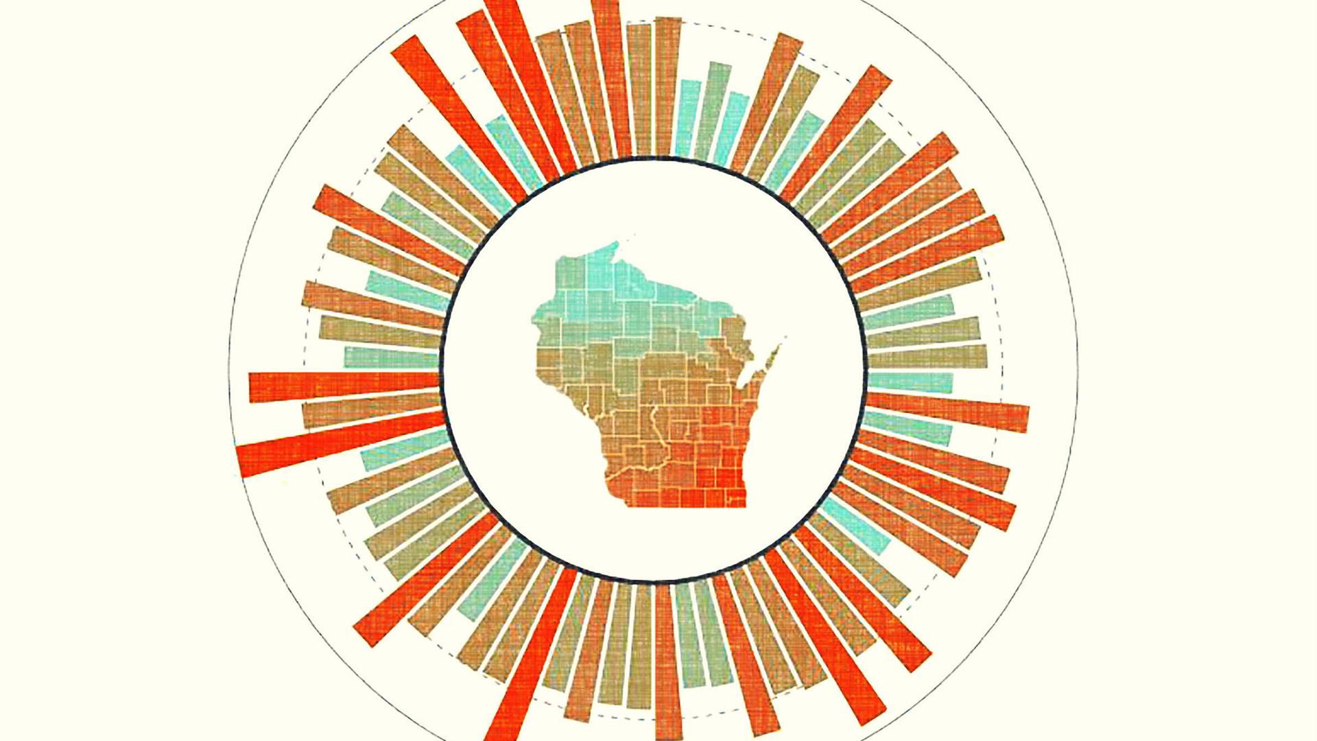 graphic illustration of Wisconsin with graph bars circling it like the sun