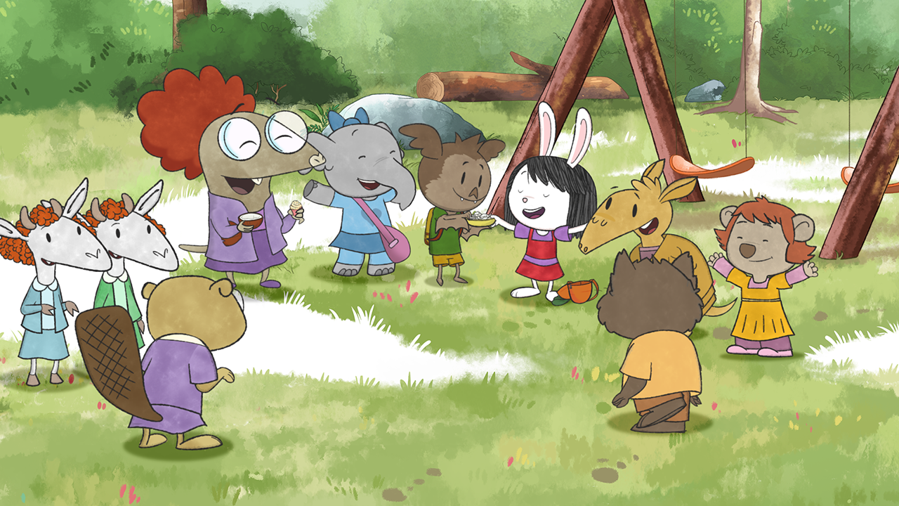 Group of cartoon animals standing in a circle