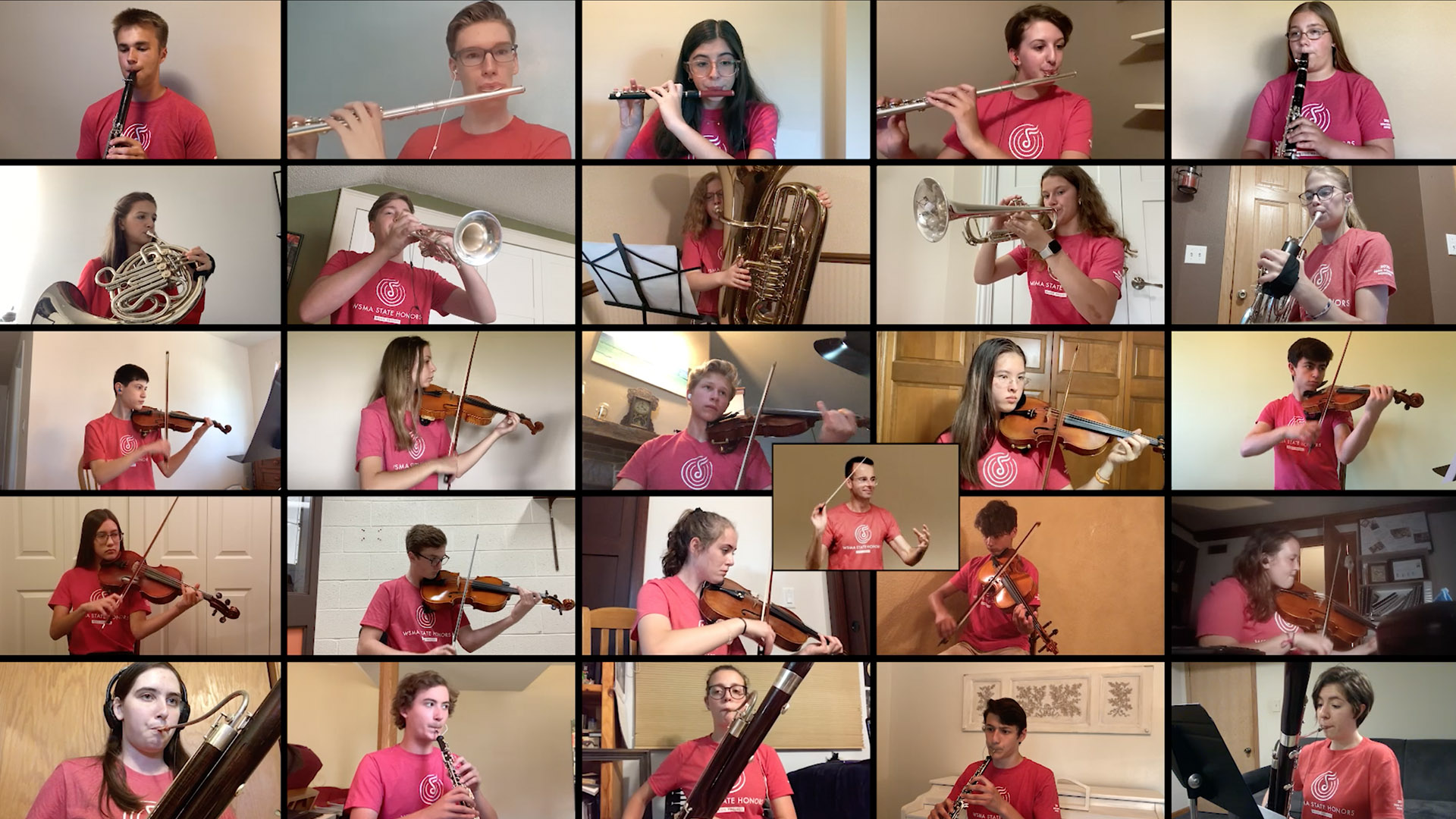 High school students play musical instruments on a Zoom video screen