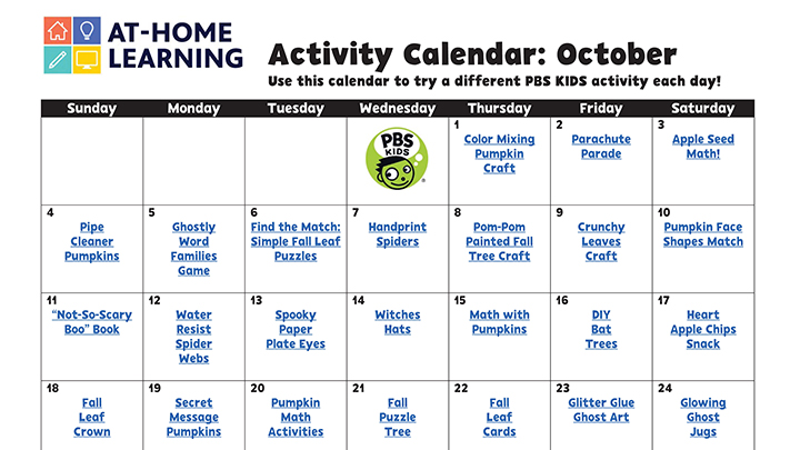October 2020 monthly calendar featuring daily activities