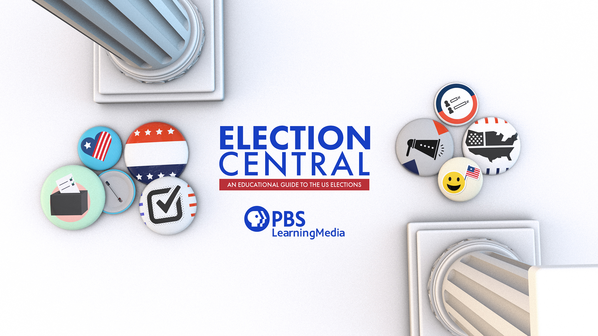 "PBS Learning Media ""Election Central"" logo surrounded by pins with voting icons on them"
