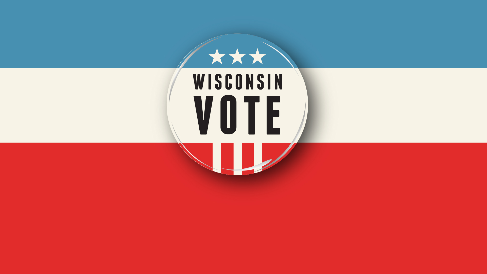 "An illustration in red white and blue of a lapel button that says ""Wisconsin Vote"""
