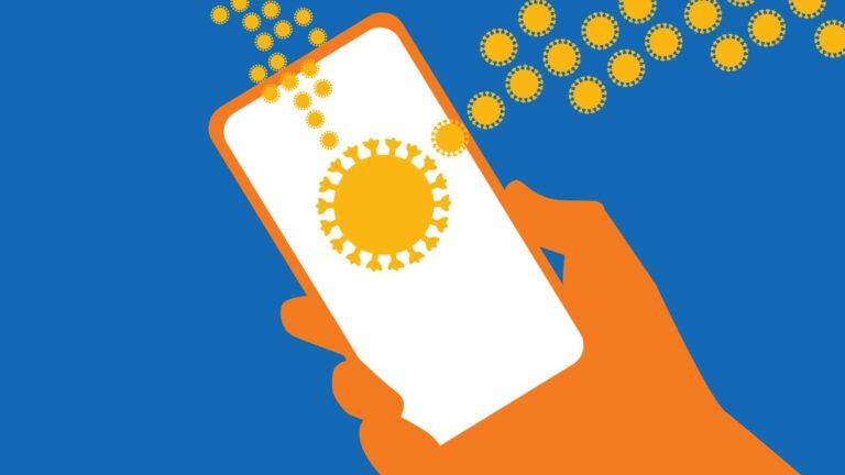 Illustration depicting a cellphone and coronavirus misinformation. (Courtesy: Philip Ashby / PBS Wisconsin)
