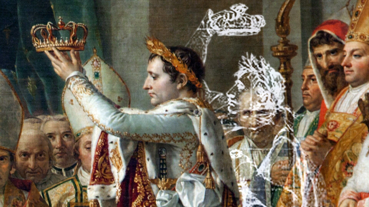 An old painting of a man holding up a crown