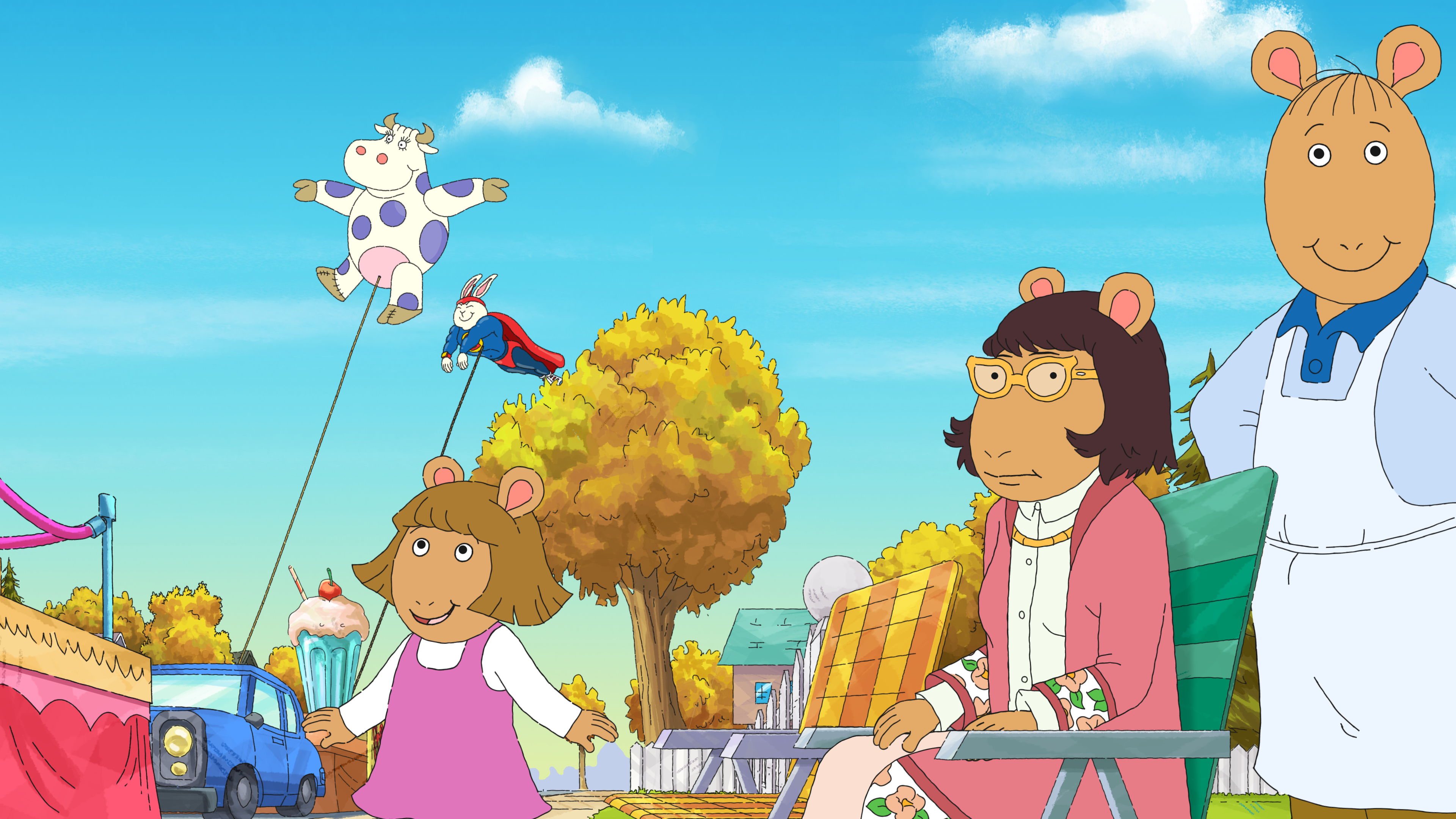 Arthur cartoon characters looking at balloon in sky