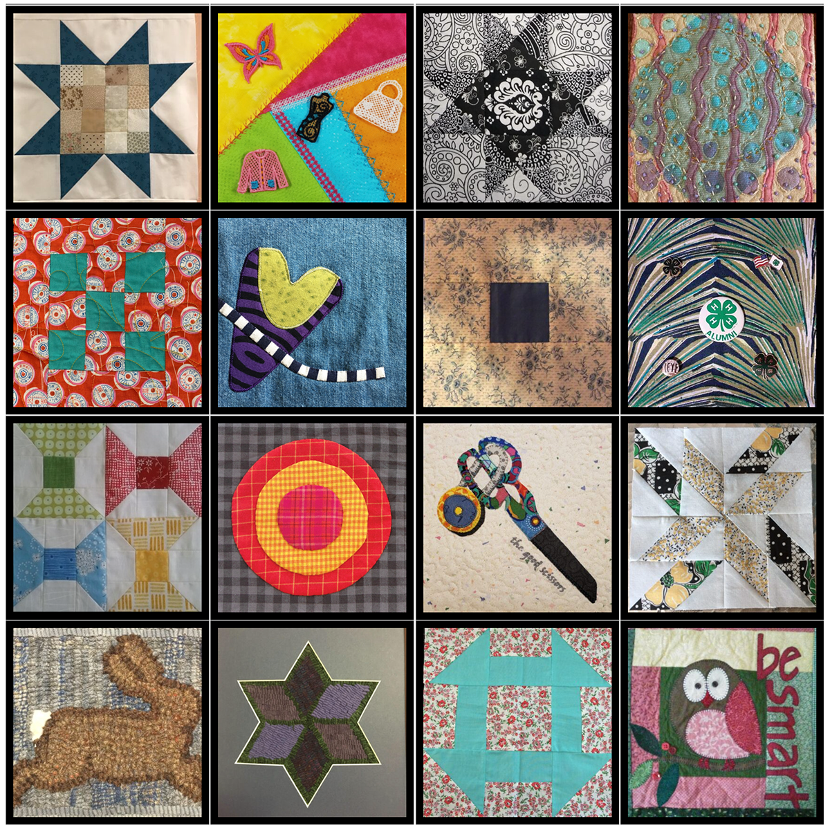Tiled collage with 16 photos of quilt pieces