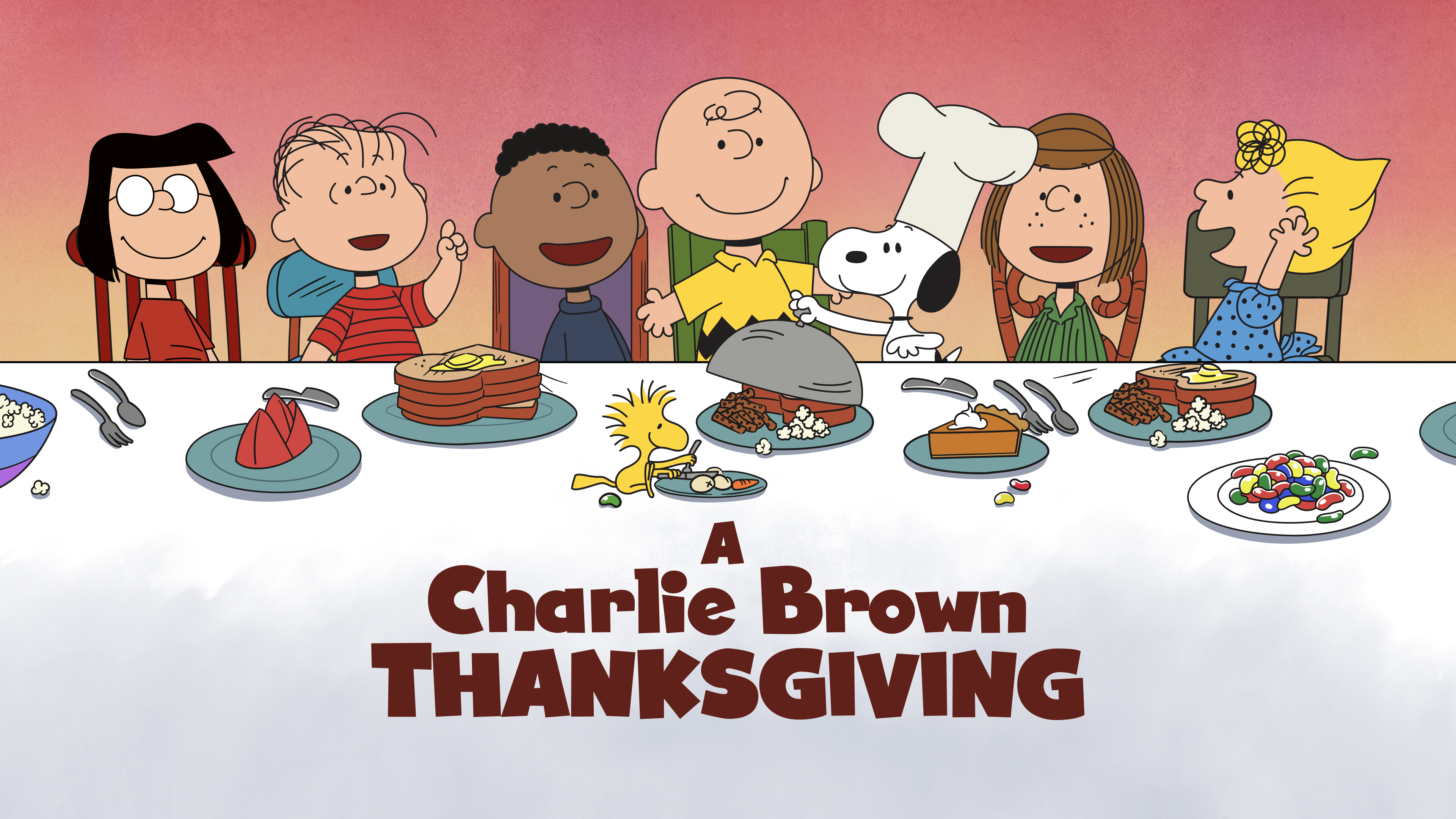 Charlie Brown and Peanuts cartoon characters with turkey
