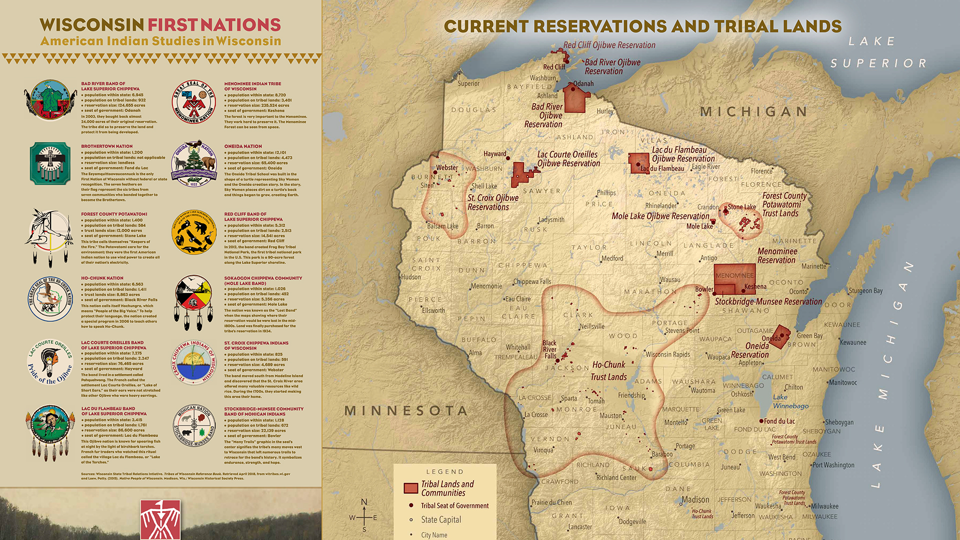 Map of Wisconsin's current reservations and tribal lands