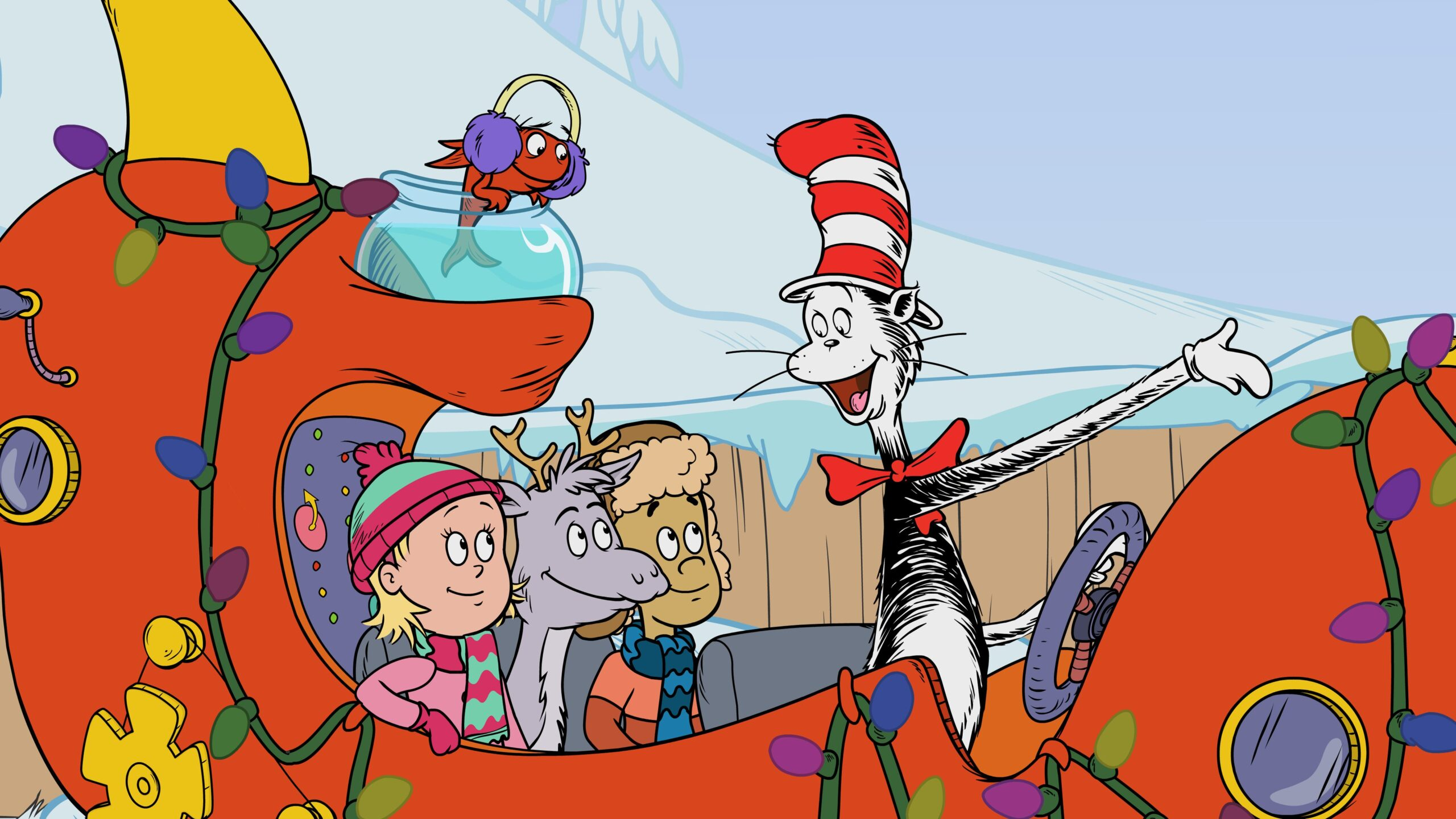 Cat in the Hat in sleigh with children