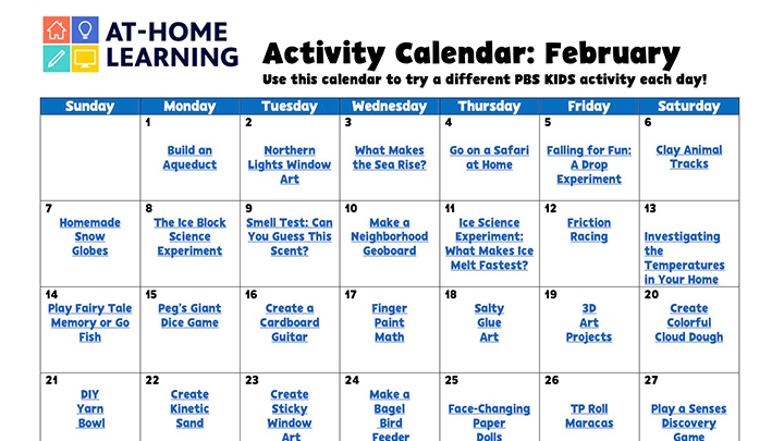 A February 2021 calendar with scheduled activities