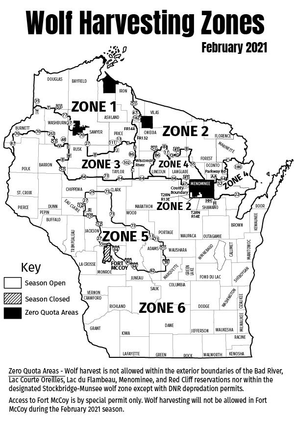 Wolf harvesting zones