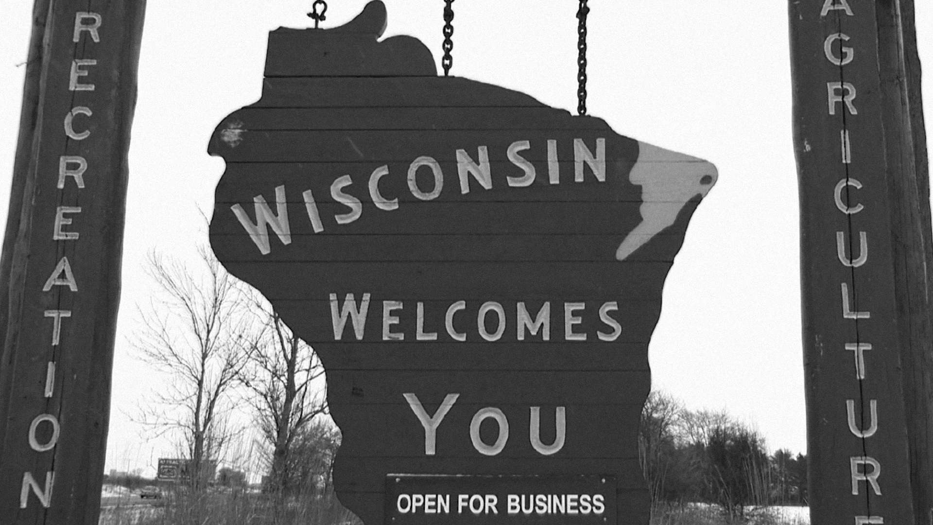 Wisconsin road sign typically located at the state lines. Photo/PBS Wisconsin.