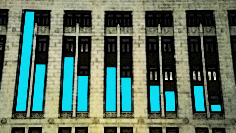 An illustration of a bar chart with a declining slope superimposed over the facade of the Wisconsin Department of Health Services building in Madison