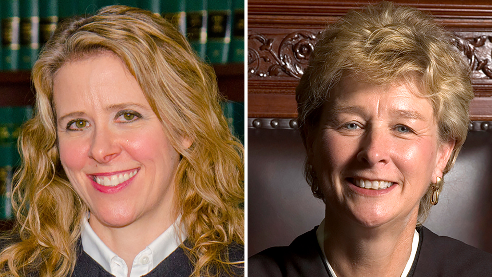 Collage of portraits of Wisconsin Supreme Court Justice Rebecca Bradley and Justice Ann Walsh Bradley