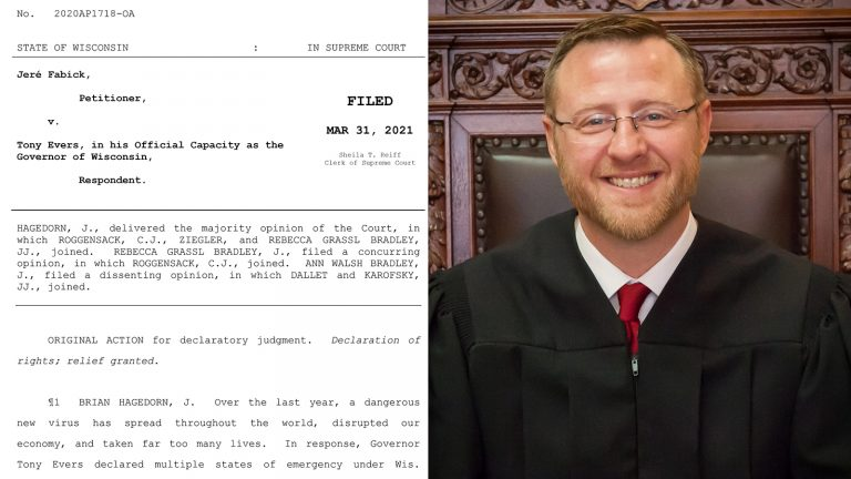 Collage of the title page of the Wisconsin Supreme Court ruling in Fabick v. Evers and portait of Justice Brian Hagedorn