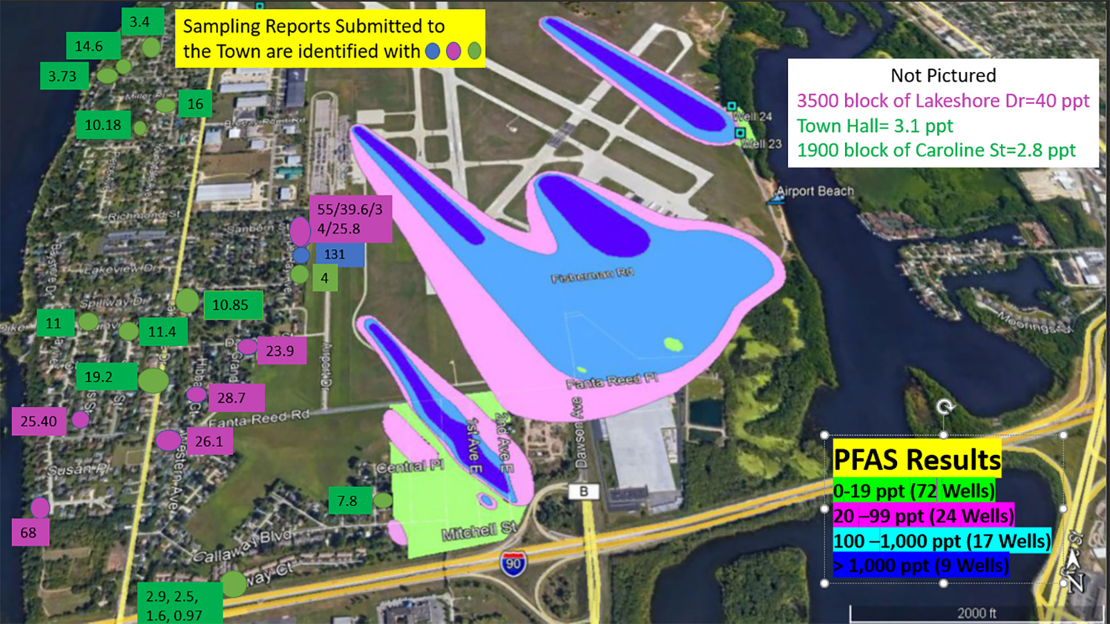 Map of water well sampling test results for PFAS contamination in town of Campbell near the La Crosse airport