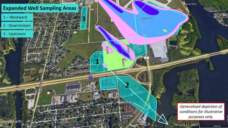 Map of water well sampling areas for PFAS contamination near the La Crosse airport