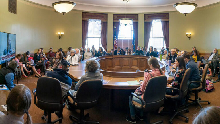 Twitter photo by Melissa Agard of a Wisconsin Capitol overflow room filled for a public bill hearing on March 3, 2021
