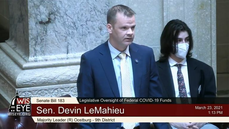 A WisconsinEye screenshot of Wisconsin Senate Majority Leader Devin LeMahieu speaking in a legislative session.