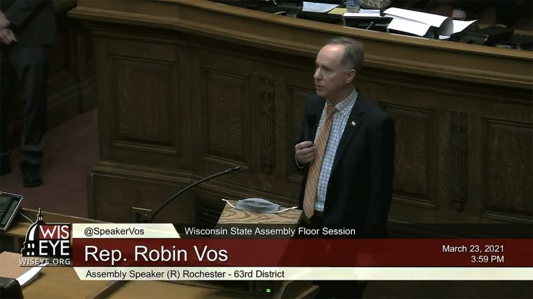 A WisconsinEye screenshot of Wisconsin Assembly Speaker Robin Vos speaking in a legislative session.