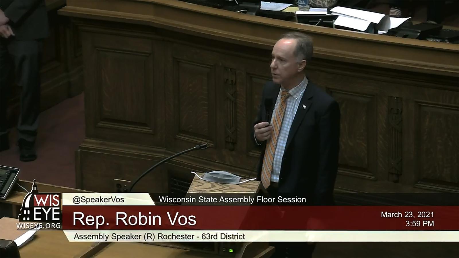 A WisconsinEye screenshot of Wisconsin Assembly Speaker Robin Vos speaking in a legislative session.