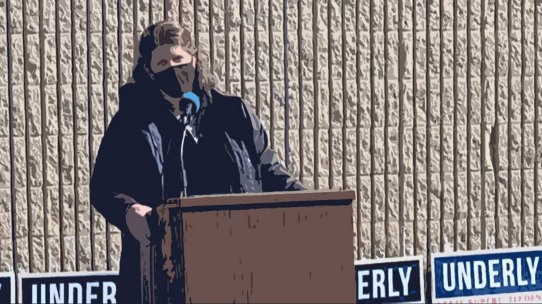 Poster-style illustration of Jill Underly speaking at podium