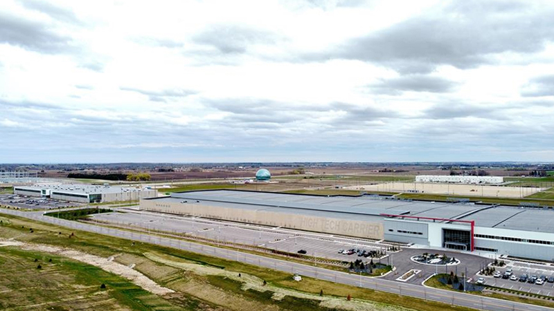 Aerial view of Foxconn manufacturing campus in Mount Pleasant