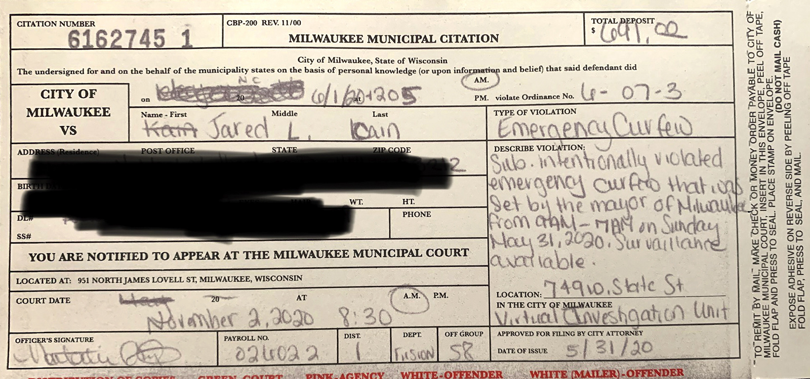 Milwaukee Municipal Citation form filed by police