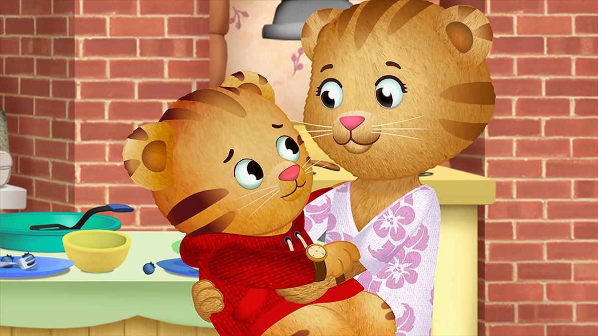 Daniel Tiger with mom