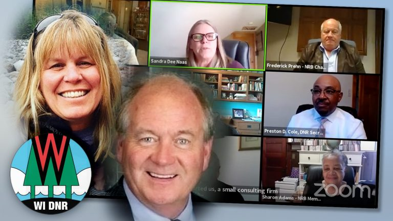 A collage showing portaits of Sandra Naas and Fred Prehn with a Wisconsin DNR logo and screenshot of a Wisconsin Natural Resources Board online meeting