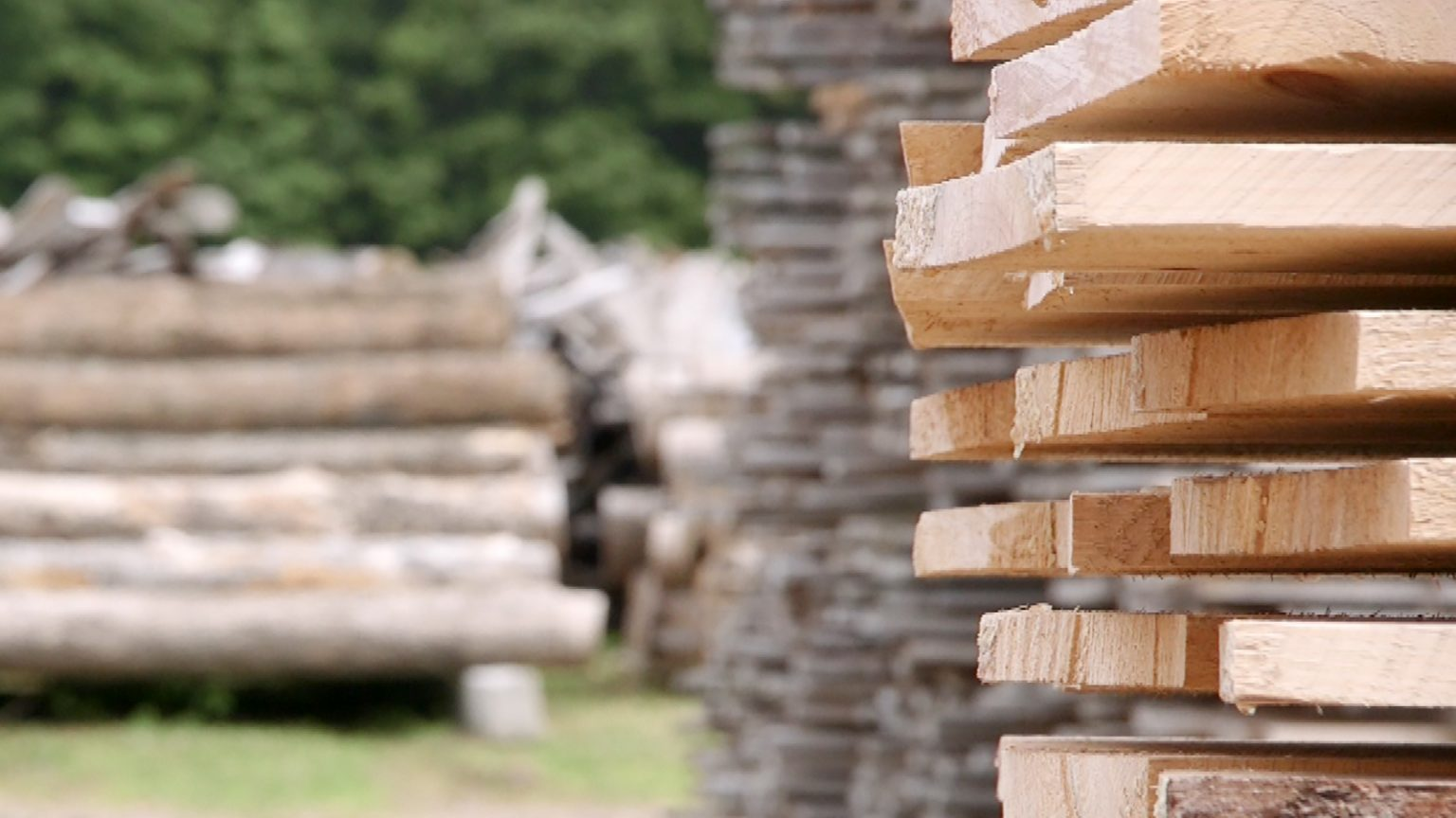Stack of lumber in focus in foreground with stacks of lumber and timber in blurred background