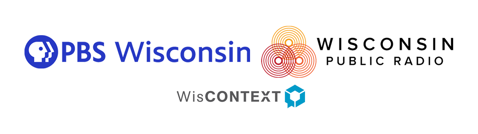 Logos of PBS Wisconsin, Wisconsin Public Radio and WisContext
