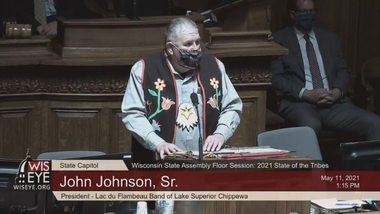 A screenshot of John Johnson, Sr. giving the 2021 State of the Tribes address in the Wisconsin Assembly chambers