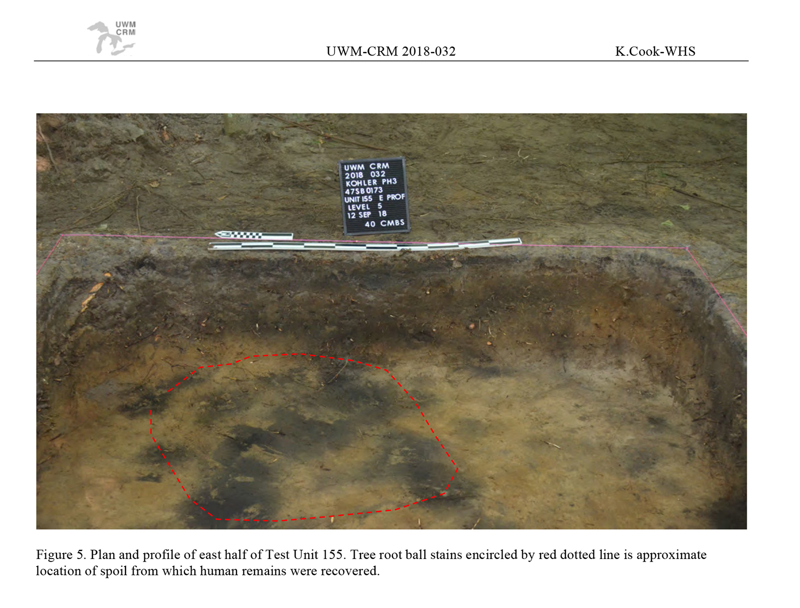 A page from a report showing an excavation site where human remains were found