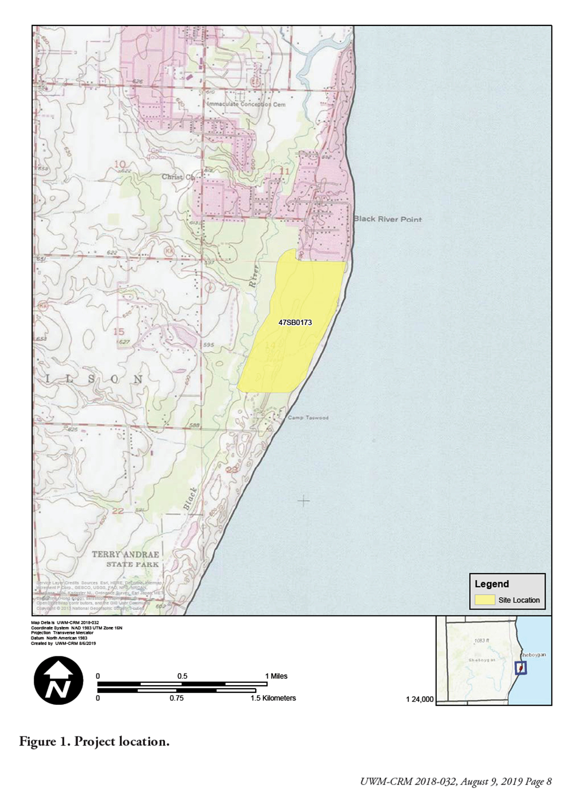 Map showing the location on Lake Michigan for a proposed golf coures