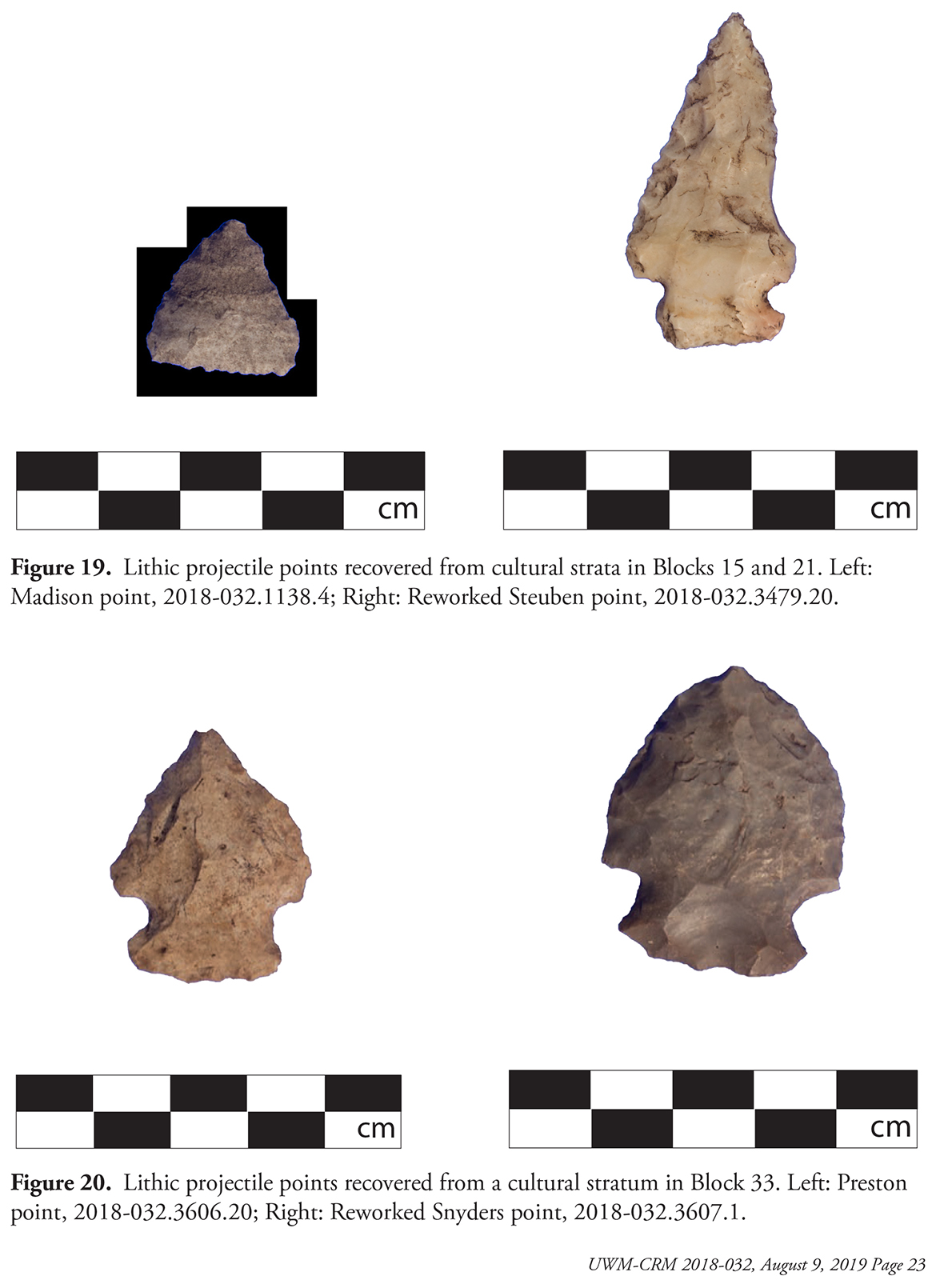 Four stone projectile points displayed alongside centimeter measurement markers
