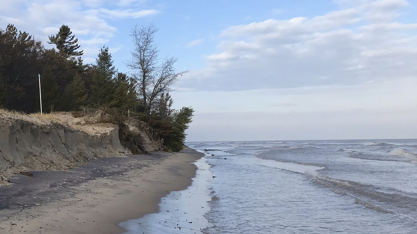 Eroded beach with trees in background and vertical pipe marking a proposed golf course hole