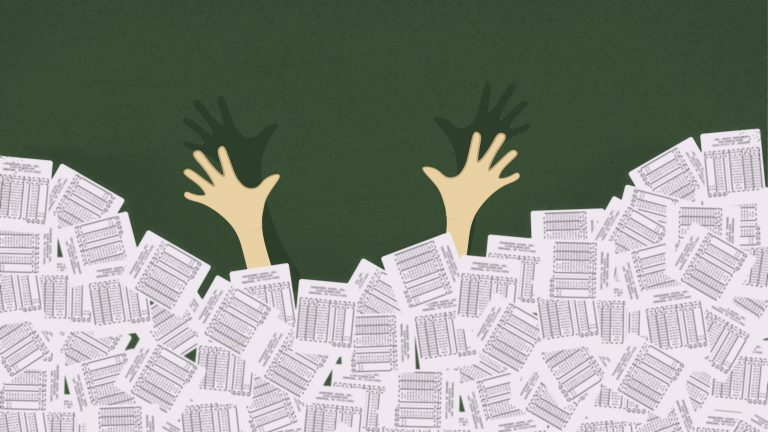 Illustration showing hands reaching up from a pile of medical bills
